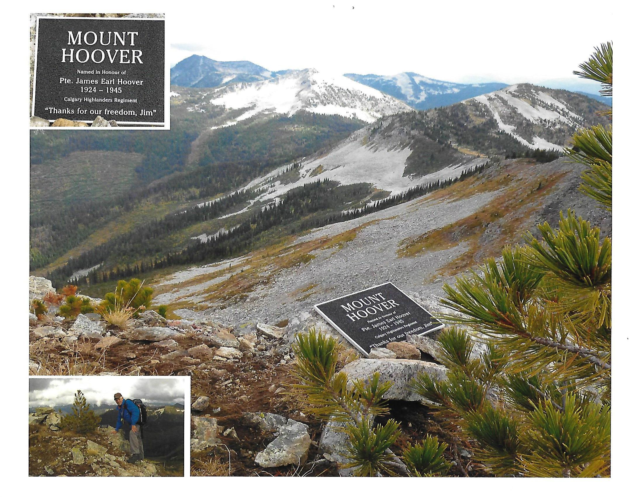 Plaque– Picture showing summit of Mt. Hoover, just northwest of Nelson, B.C. We climbed this mountain in September, 2016 and placed a plaque there in remembrance of my uncle, James (Jim) Earl Hoover.