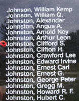 Memorial– Pilot Officer Clifford Stanley Johnston is also commemorated on the Bomber Command Memorial Wall in Nanton, AB … photo courtesy of Marg Liessens