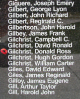 Memorial– Flying Officer Donald Ross Gilchrist is also commemorated on the Bomber Command Memorial Wall in Nanton, AB … photo courtesy of Marg Liessens