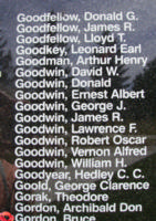 Memorial– Sergeant Bruce Gordon is also commemorated on the Bomber Command Memorial Wall in Nanton, AB … photo courtesy of Marg Liessens