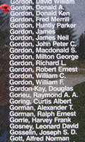 Memorial– Flying Officer Donald Alexander Gordon is also commemorated on the Bomber Command Memorial Wall in Nanton, AB … photo courtesy of Marg Liessens