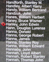 Memorial– Pilot Officer John Edwin Hanley is also commemorated on the Bomber Command Memorial Wall in Nanton, AB … photo courtesy of Marg Liessens