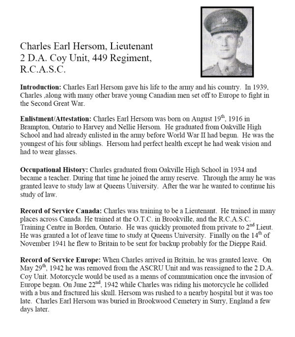 Oakville Remembers Biography