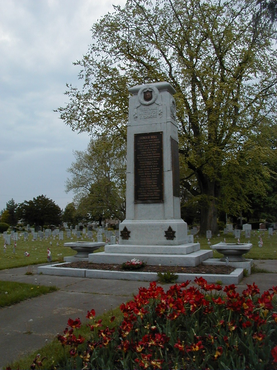 """Memorial– Pte Herbert Hipwell is commemorated on the Veterans Memorial at Victoria Lawn Cemetery, St. Catharines, ON.  Copyright © 2017 by T.L. Skelding. All rights reserved. The photograph(s) may be used solely for personal, informational, and internal purposes. The photograph(s) may not be modified or altered in any way OR posted on any other web-site for any purpose whatsoever. I request to be notified where the image is being used and that the tag """"Courtesy The Mounted Dragoon. Copyrighted Image. Used with Permission."""" is added to every image."""