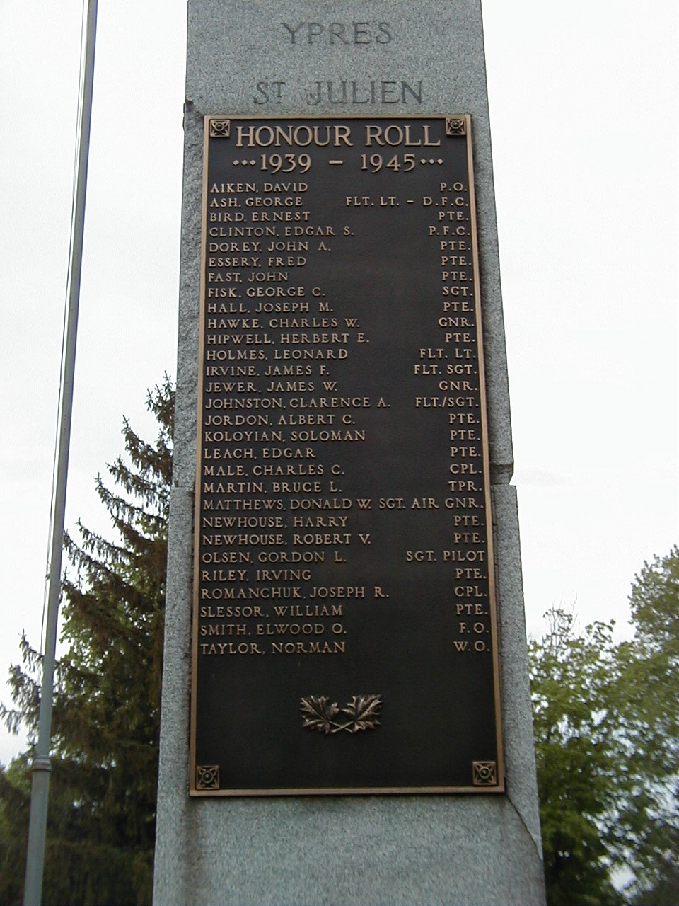 """Inscription– Pte Herbert Hipwell is commemorated on the Veterans Memorial at Victoria Lawn Cemetery, St. Catharines, ON.  Copyright © 2017 by T.L. Skelding. All rights reserved. The photograph(s) may be used solely for personal, informational, and internal purposes. The photograph(s) may not be modified or altered in any way OR posted on any other web-site for any purpose whatsoever. I request to be notified where the image is being used and that the tag """"Courtesy The Mounted Dragoon. Copyrighted Image. Used with Permission."""" is added to every image."""