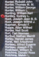 Memorial– Flying Officer Sydney Leonard Huntley is also commemorated on the Bomber Command Memorial Wall in Nanton, AB … photo courtesy of Marg Liessens