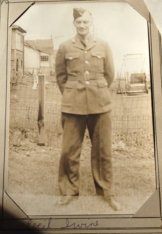 """Photo of John """"Cecil"""" Irvine– Photo Courtesy of Judy Vanclieaf (Great-Niece) of Baysville, Ontario"""