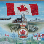 Preston Ontario Wall of Remembrance Mural– Mural by D. Sopha.  Located adjacent to the Preston Cenotaph.