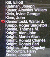 Memorial– Flight Sergeant Walter John Klementoski is also commemorated on the Bomber Command Memorial Wall in Nanton, AB … photo courtesy of Marg Liessens