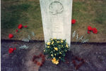 Grave Marker– I placed 6 Poppies representing his 6 living children, and a pot of flowers from the family. I gathered pine cones that had fallen on the ground and formed them into 2 hearts. I also buried a Canadian coin. He is buried in England. I was the second person to visit his grave. My father was the first.