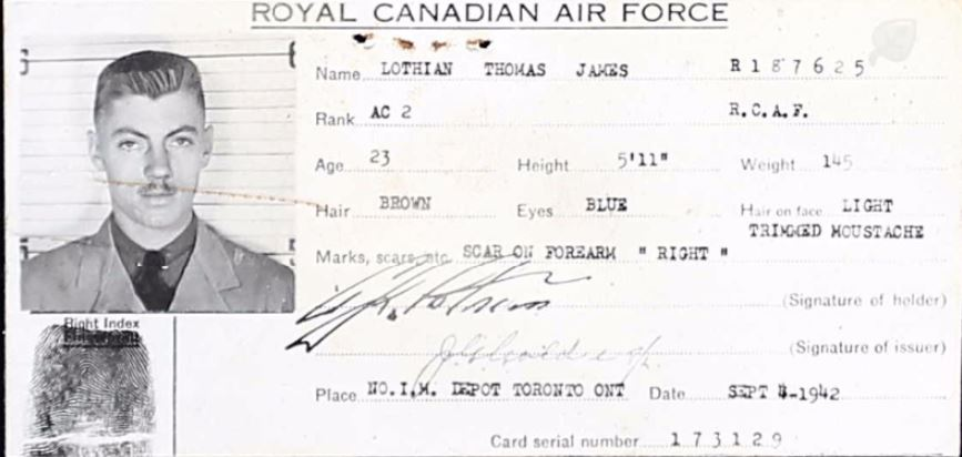 Photo of THOMAS JAMES LOTHIAN– From WW2 service file