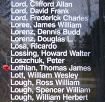Memorial– Pilot Officer Thomas James Lothian is also commemorated on the Bomber Command Memorial Wall in Nanton, AB … photo courtesy of Marg Liessens
