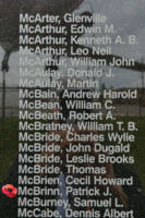 Memorial– Pilot Officer Patrick Joseph McBrinn is also commemorated on the Bomber Command Memorial Wall in Nanton, AB … photo courtesy of Marg Liessens