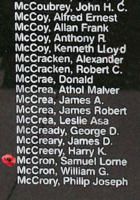 Memorial– Sergeant Samuel Lorne Wilfred McCron is also commemorated on the Bomber Command Memorial Wall in Nanton, AB … photo courtesy of Marg Liessens