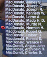Memorial– Flying Officer Norman Hector MacDonald is also commemorated on the Bomber Command Memorial Wall in Nanton, AB … photo courtesy of Marg Liessens