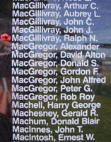 Memorial– Pilot Officer Ralph Northcliffe MacGillivray is also commemorated on the Bomber Command Memorial Wall in Nanton, AB … photo courtesy of Marg Liessens