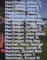 Memorial– Warrant Officer Class II Donald Blair Machum is also commemorated on the Bomber Command Memorial Wall in Nanton, AB … photo courtesy of Marg Liessens
