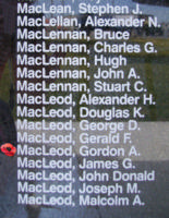 Memorial– Flight Sergeant Gordon Alden MacLeod is also commemorated on the Bomber Command Memorial Wall in Nanton, AB … photo courtesy of Marg Liessens