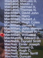 Memorial– Sergeant William James MacMillan is also commemorated on the Bomber Command Memorial Wall in Nanton, AB … photo courtesy of Marg Liessens