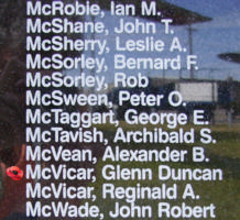 Memorial– Warrant Officer Class I Glenn Duncan McVicar is also commemorated on the Bomber Command Memorial Wall in Nanton, AB … photo courtesy of Marg Liessens