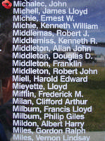Memorial– Flying Officer John Michalec is also commemorated on the Bomber Command Memorial Wall in Nanton, AB … photo courtesy of Marg Liessens