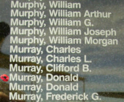 Memorial– Pilot Officer Donald Murray is also commemorated on the Bomber Command Memorial Wall in Nanton, AB … photo courtesy of Marg Liessens
