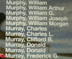 Memorial– Pilot Officer Frederic Graham Murray is also commemorated on the Bomber Command Memorial Wall in Nanton, AB … photo courtesy of Marg Liessens