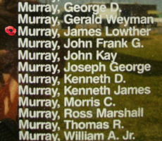 Memorial– Flight Sergeant James Lowther Murray is also commemorated on the Bomber Command Memorial Wall in Nanton, AB … photo courtesy of Marg Liessens