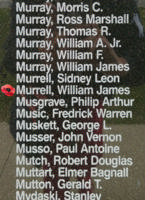 Memorial– Pilot Officer William James Murrell is also commemorated on the Bomber Command Memorial Wall in Nanton, AB … photo courtesy of Marg Liessens