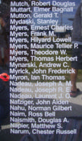 Memorial– Pilot Officer Ian Thomas Myron is also commemorated on the Bomber Command Memorial Wall in Nanton, AB … photo courtesy of Marg Liessens