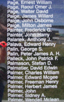 Memorial– Sergeant Edward Henry Palava is commemorated on the Bomber Command Memorial Wall in Nanton, AB … photo courtesy of Marg Liessens