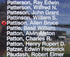 Memorial– Pilot Officer Allen Bruce Pattison is commemorated on the Bomber Command Memorial Wall in Nanton, AB … photo courtesy of Marg Liessens
