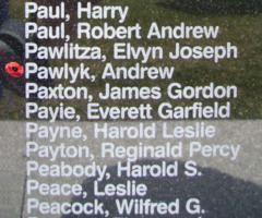 Memorial– Flight Sergeant Andrew Pawlyk is also commemorated on the Bomber Command Memorial Wall in Nanton, AB … photo courtesy of Marg Liessens
