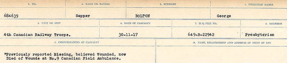 Circumstances of Death Registers– Source:  Library and Archives Canada.  CIRCUMSTANCES OF DEATH REGISTERS FIRST WORLD WAR Surnames: Blampie to Booth; Mircoform Sequence 11; Volume Number 131829_B016720; Reference RG150, 1992-93/314, 155 Page 509 of 762