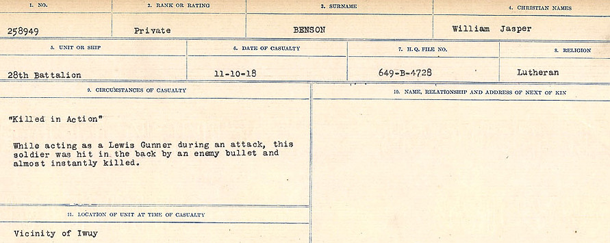 Circumstances of Death– Source: Library and Archives Canada.  CIRCUMSTANCES OF DEATH REGISTERS FIRST WORLD WAR Surnames:  Bell to Bernaquez.  Mircoform Sequence 8; Volume Number 31829_B016718; Reference RG150, 1992-93/314, 152 Page 559 of 670