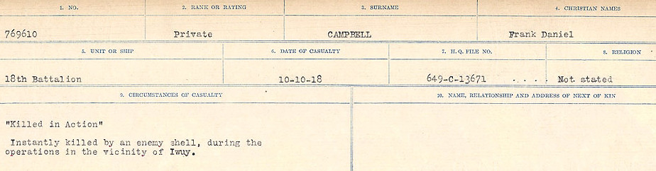 Circumstances of Death Registers– Source: Library and Archives Canada.  CIRCUMSTANCES OF DEATH REGISTERS, FIRST WORLD WAR Surnames:  Cabana to Campling. Microform Sequence 17; Volume Number 31829_B016726. Reference RG150, 1992-93/314, 161.  Page 669 of 1024
