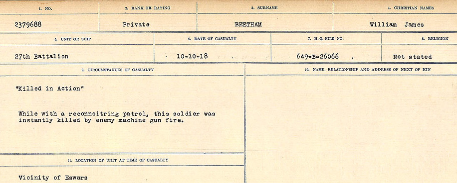 Circumstances of Death Registers– Source: Library and Archives Canada.  CIRCUMSTANCES OF DEATH REGISTERS FIRST WORLD WAR Surnames:  Bea to Belisle. Mircoform Sequence 7; Volume Number 31829_B016717. Reference RG150, 1992-93/314, 151.  Page 581 of 724.