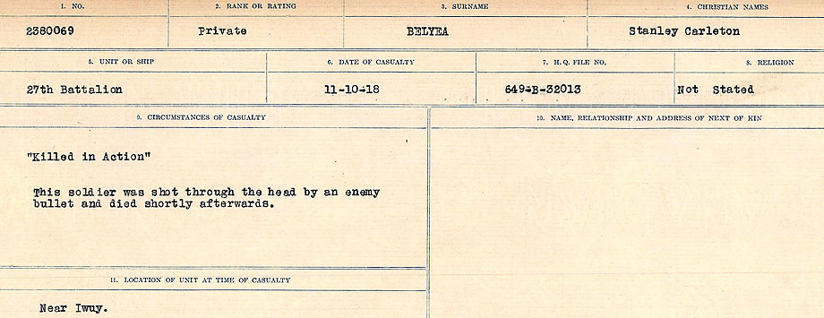 Circumstances of Death– Source: Library and Archives Canada.  CIRCUMSTANCES OF DEATH REGISTERS FIRST WORLD WAR Surnames:  Bell to Bernaquez.  Mircoform Sequence 8; Volume Number 31829_B016718; Reference RG150, 1992-93/314, 152 Page 317 of 670.