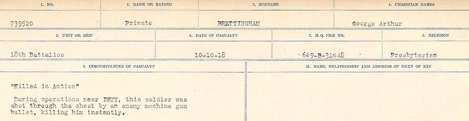 Registres de circonstances du décès – Source: Bibliothèque et Archives Canada