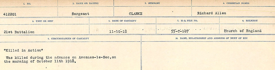 Attestation Papers– Source: Library and Archives Canada.  CIRCUMSTANCES OF DEATH REGISTERS, FIRST WORLD WAR Surnames:  CHILD TO CLAYTON.  Microform Sequence 20; Volume Number 31829_B016729. Reference RG150, 1992-93/314, 164.  Page 925 of 1068