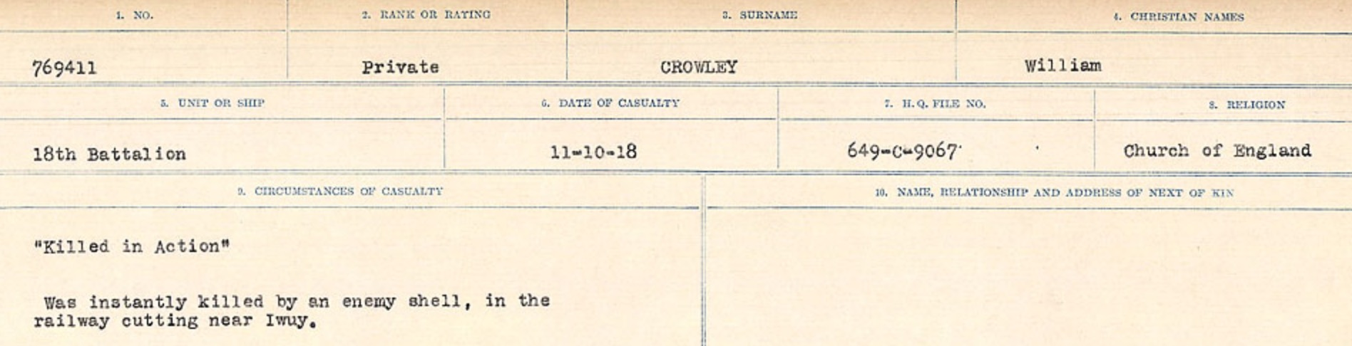 Circumstances of death registers– Source: Library and Archives Canada. CIRCUMSTANCES OF DEATH REGISTERS, FIRST WORLD WAR Surnames: Crossley to Cyrs. Microform Sequence 25; Volume Number 31829_B016734. Reference RG150, 1992-93/314, 169. Page 165 of 890.