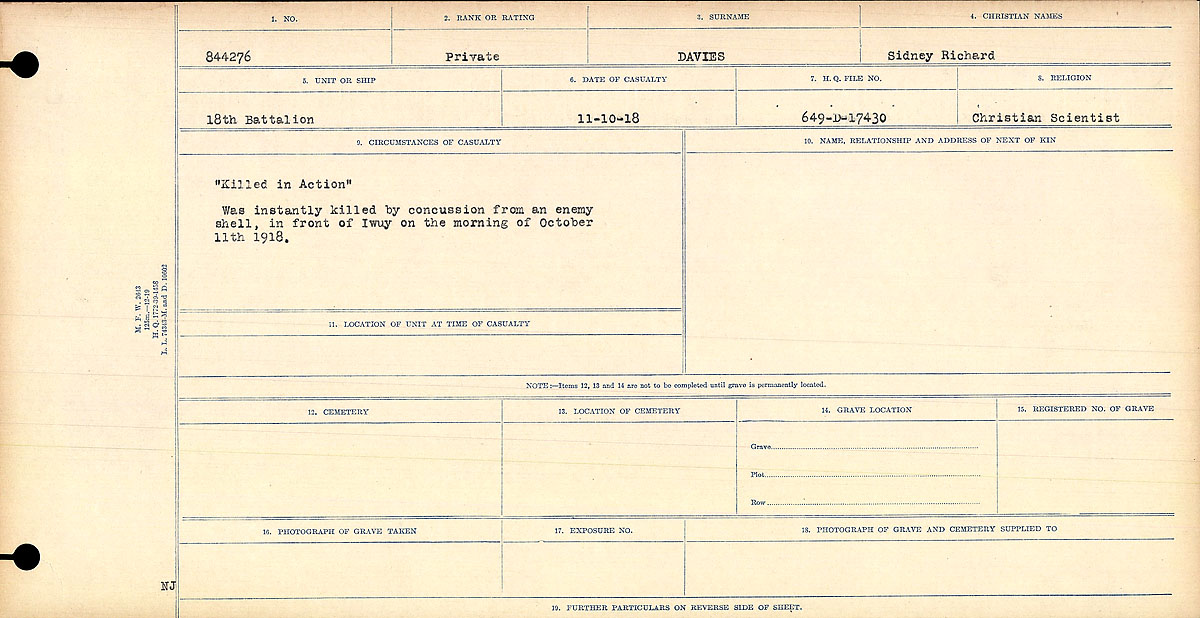"""Circumstances of Death Registers– Circumstances of Death Register: """"Killed in Action"""" Was instantly killed by concussion from an enemy shell, in front of Iwuy on the morning of October 11th, 1918."""