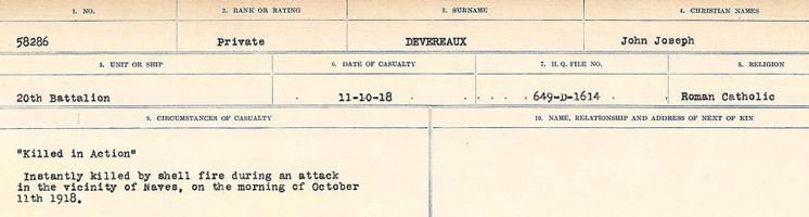 Circumstances of death registers– Source: Library and Archives Canada. CIRCUMSTANCES OF DEATH REGISTERS, FIRST WORLD WAR. Surnames: Deuel to Domoney. Microform Sequence 28; Volume Number 31829_B016737. Reference RG150, 1992-93/314, 172. Page 41 of 1084.