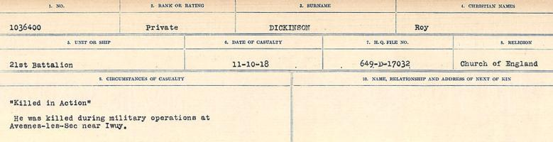 Circumstances of death registers– Source: Library and Archives Canada. CIRCUMSTANCES OF DEATH REGISTERS, FIRST WORLD WAR. Surnames: Deuel to Domoney. Microform Sequence 28; Volume Number 31829_B016737. Reference RG150, 1992-93/314, 172. Page 349 of 1084.