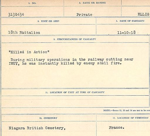 """Circumstances of death registers– """"Killed in Action"""" During military operations in the railway cutting near IWUY, he was killed instantly by enemy shell fire.  Contributed by E.Edwards www.18thbattalioncef.wordpress.com"""