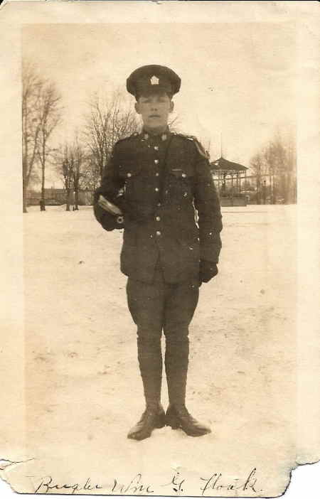 Photo of William George Flook.– Image of Bugler William George Flook.  Contributed by E.Edwards www.18thbattalioncef.wordpress.com via Jason Flook.