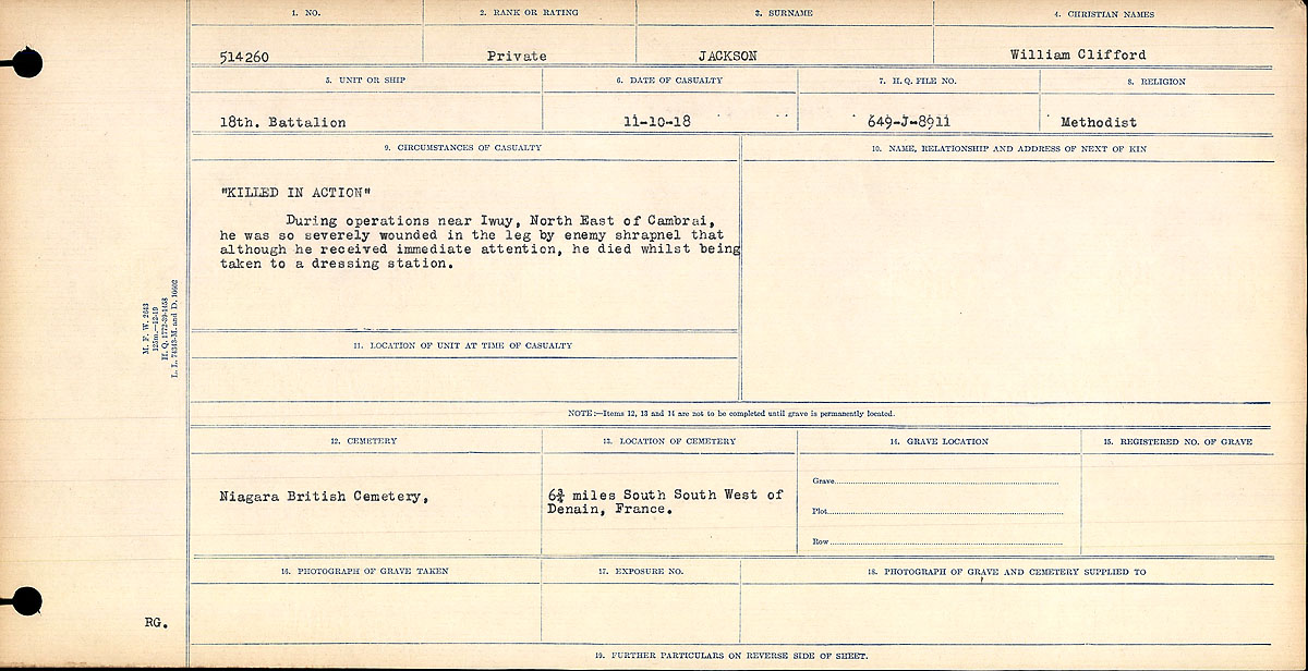"Circumstances of Death Registers– ""KILLED IN ACTION"" During operations near Iwuy, North East of Cambria, he was so severely wounded in the leg by enemy shrapnel that although he received immediate attention, he died whilst being taken to the dressing station.