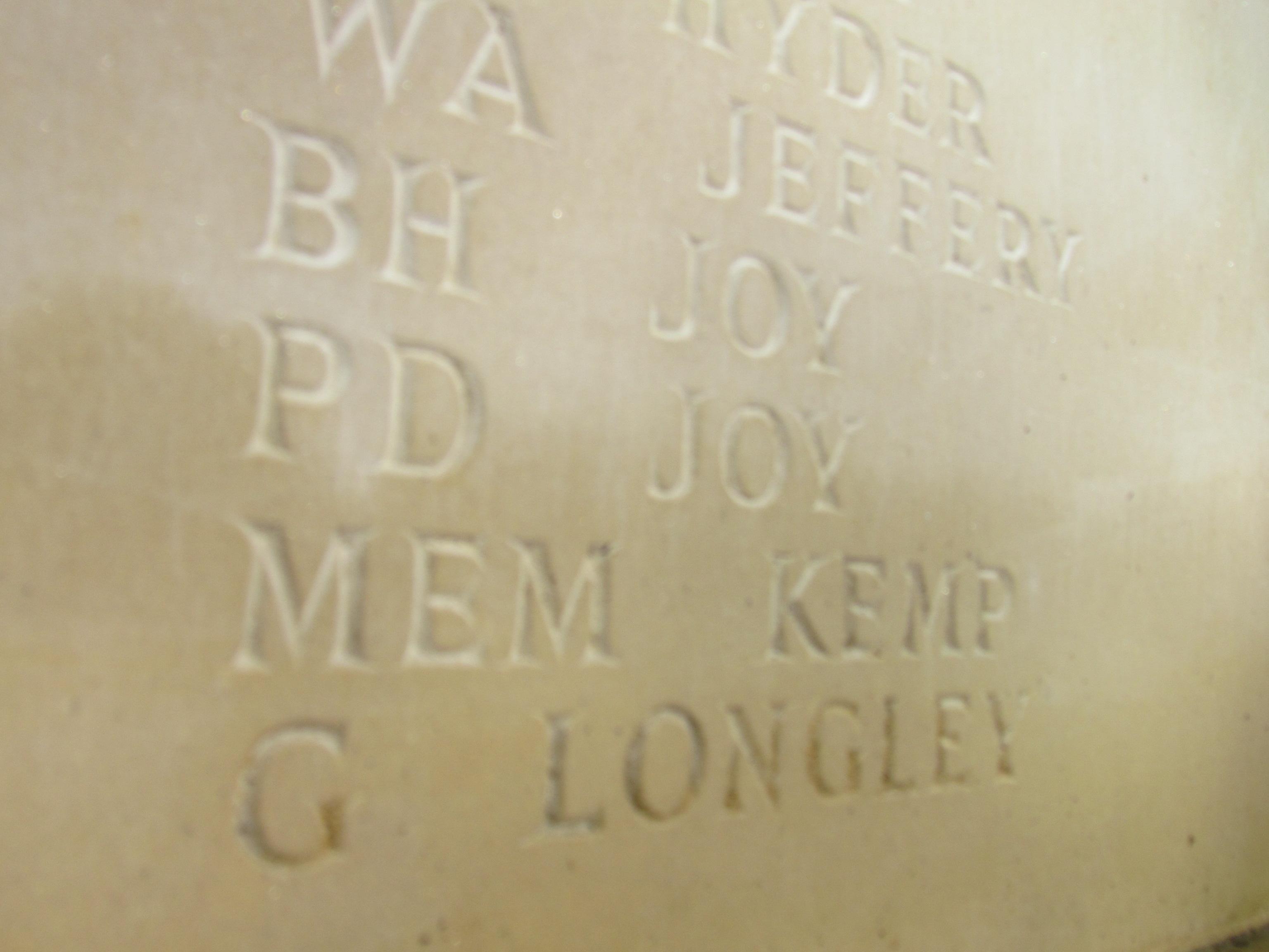 Inscription– Rotherfield Parish War Memorial Service of Dedication 20th October 2018