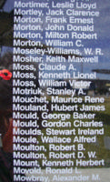 Memorial– Flying Officer Kenneth Lionel Moss is also commemorated on the Bomber Command Memorial Wall in Nanton, AB … photo courtesy of Marg Liessens