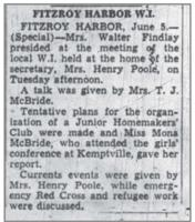 Newspaper clipping– Mona McBride was involved in different clubs, as well as played on a softball team.